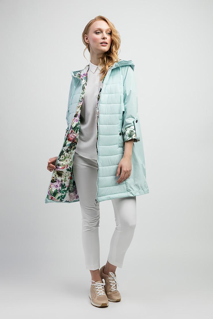 Удлиненная куртка-ветровка голубого цвета ODRI 17410509/03-голубой