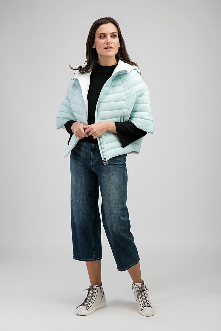 Куртка на синтепоне с рукавом 3/4 «летучая мышь»Куртки<br>Куртка на синтепоне с рукавом 3/4 «летучая мышь»<br>Цвет: голубой; Размер: 42, 44, 48, 50, 52; Состав: 100% нейлон, подкладка - 100% нейлон, утеплитель - синтепон; Материал: 100% нейлон, подкладка - 100% нейлон, утеплитель - синтепон;