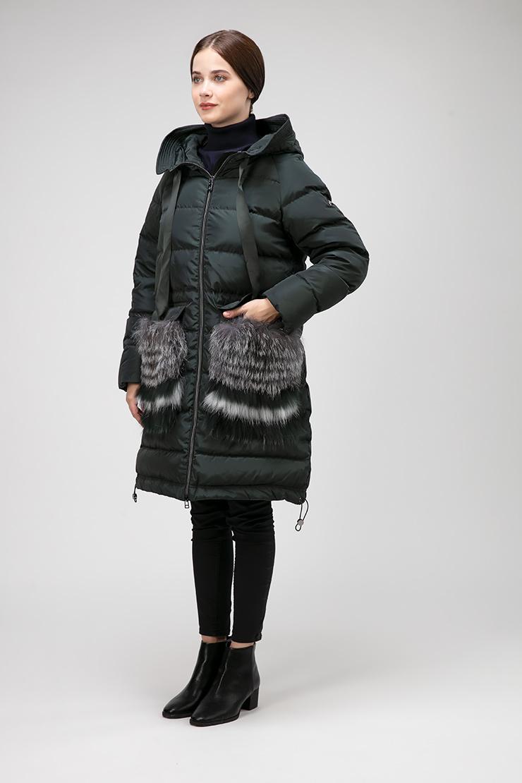 Женский пуховик до колена с мехом чернобурки фото