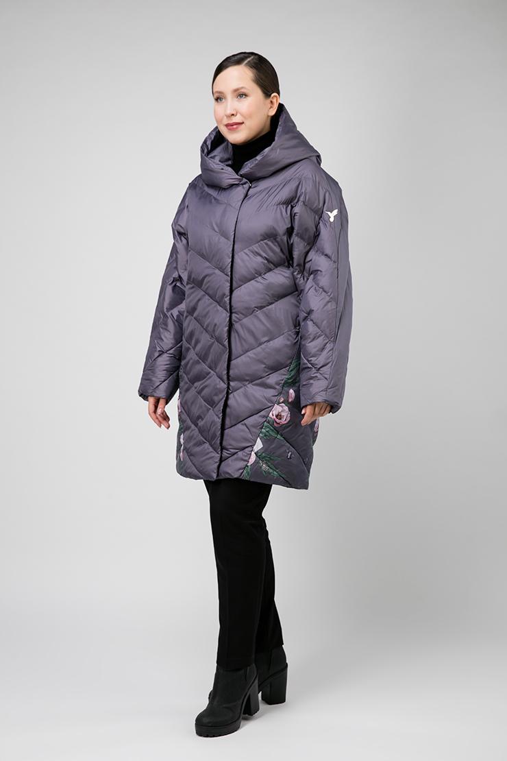 Женское пальто оверсайз осень-зима с капюшоном, 18310111-2/04_-серый