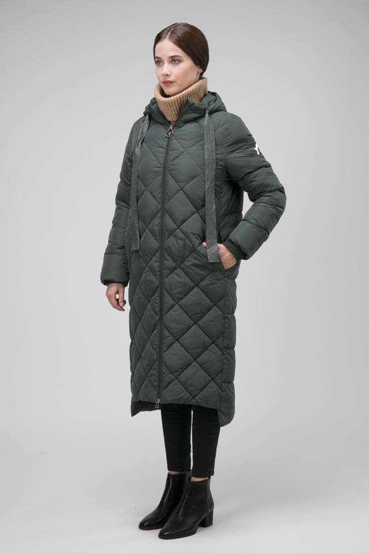 Демисезонное пальто с капюшоном на большой размер фото