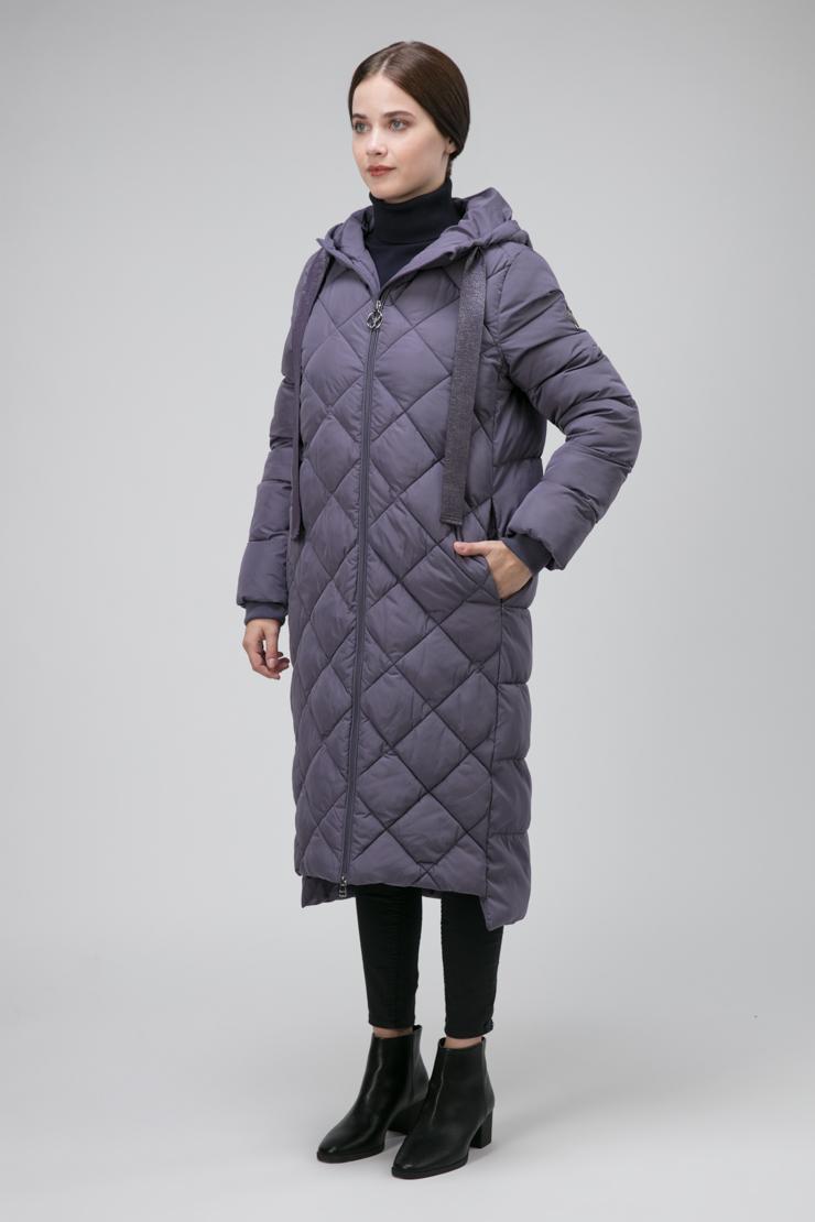 Модное стеганое пальто О-силуэта фото