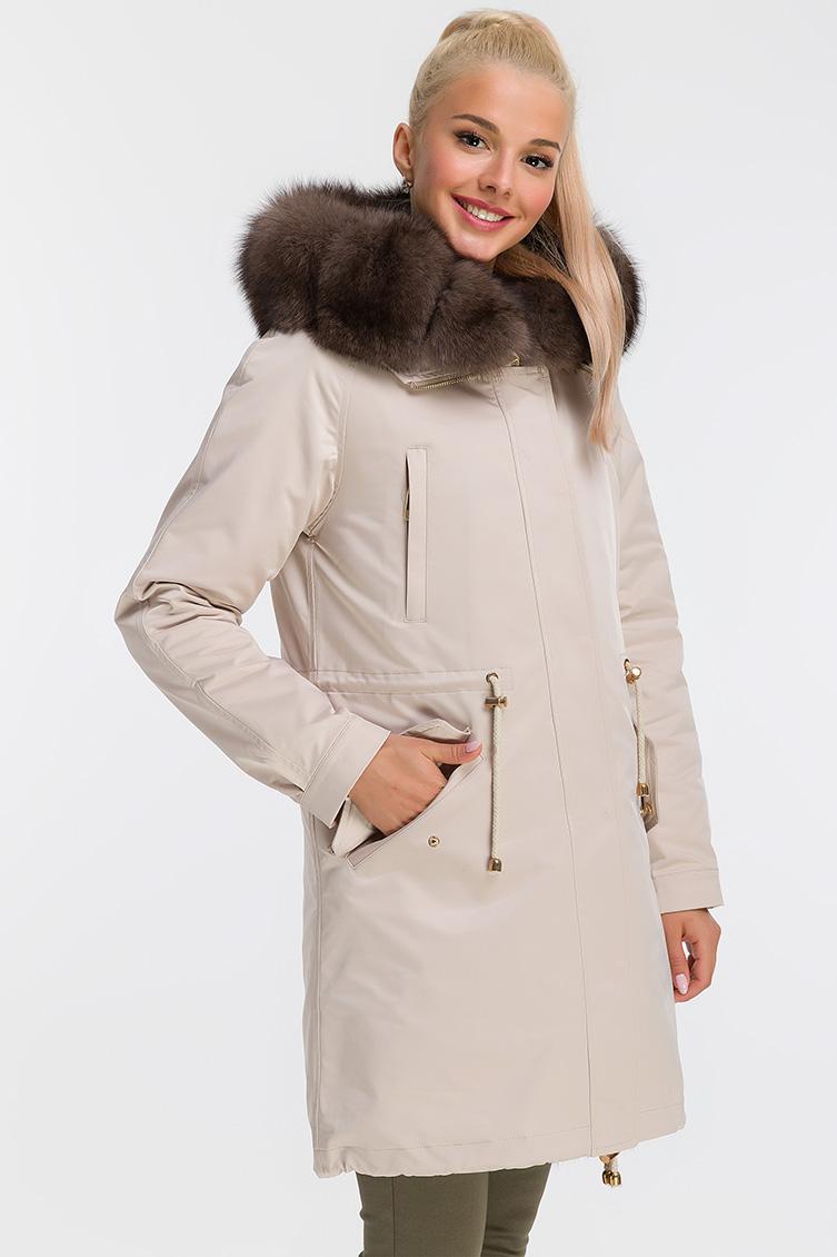 Теплая итальянская куртка с песцом фото