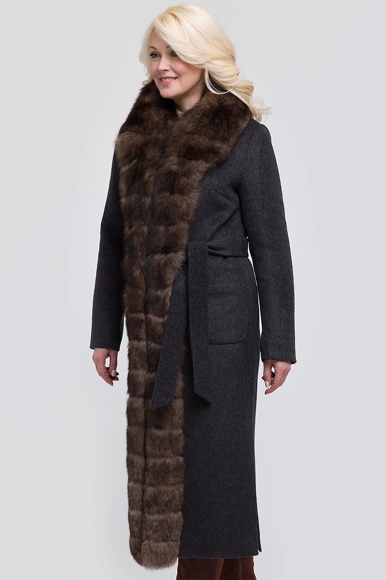 Утепленное драповое женское пальто с мехом песца фото