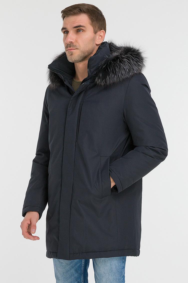 Длинная пуховая мужская куртка с капюшоном и мехом фото