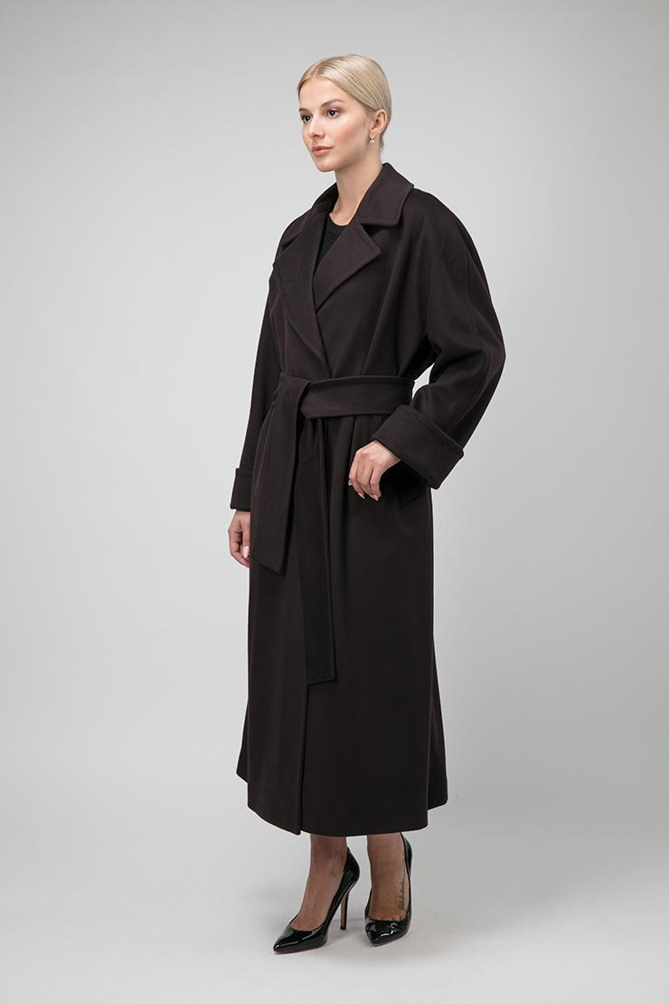 Стильное женское длинное пальто на запахе фото