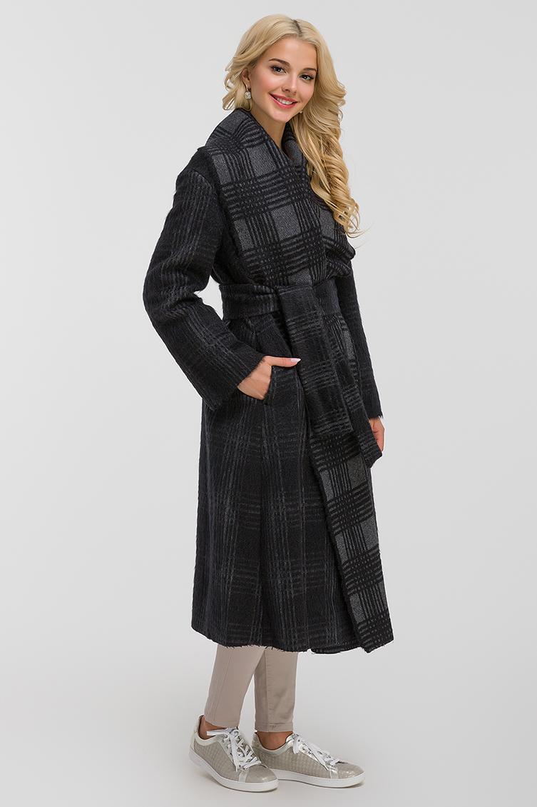 Длинное итальянское пальто в клетку Teresa Tardia фото