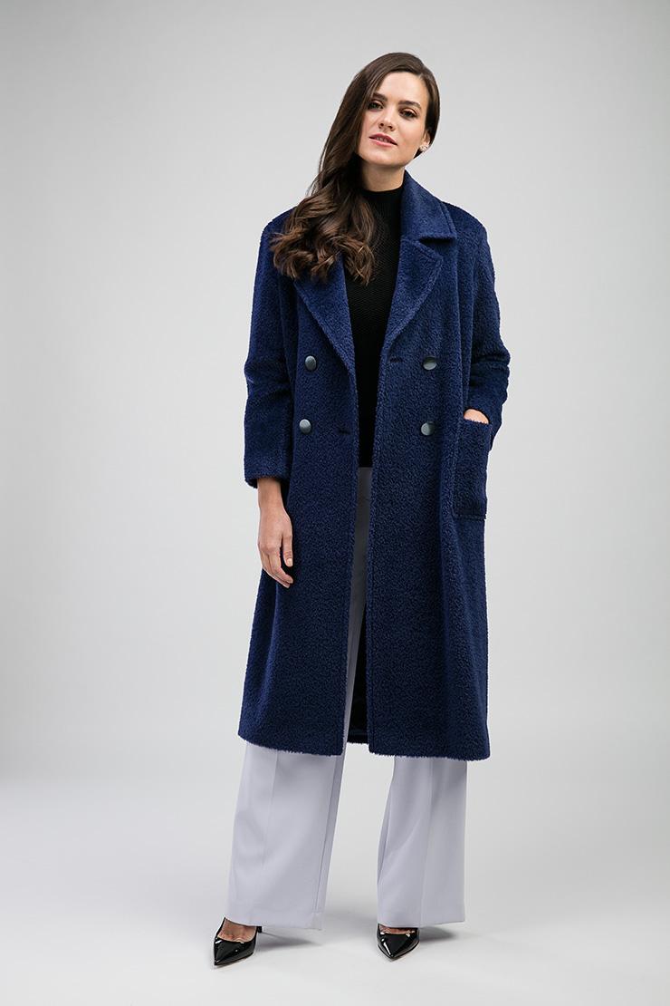 Синее женское пальто из альпака Teresa Tardia с английским воротником 226703/T46_-синий