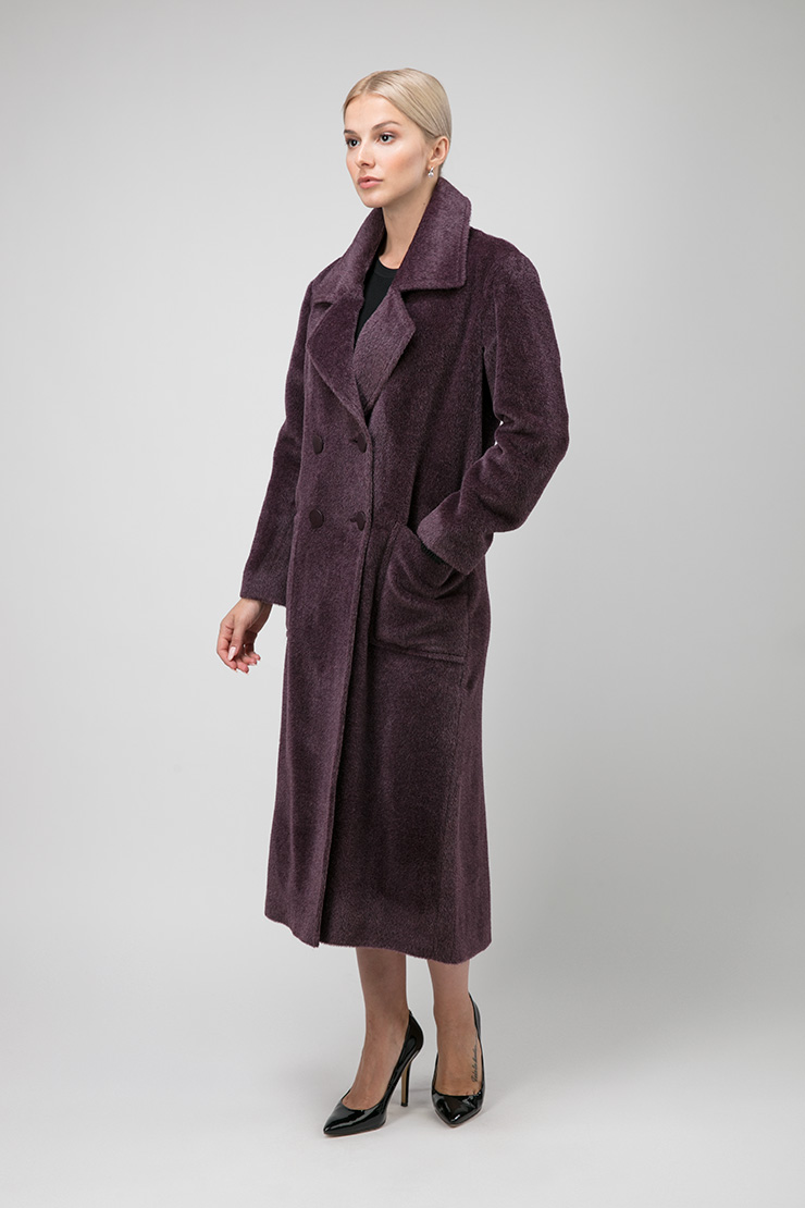 Итальянское двубортное пальто из альпака фото