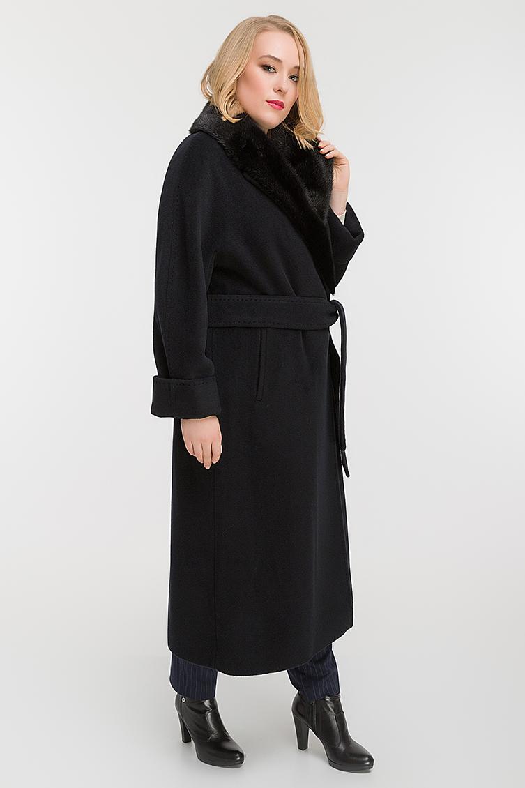 Стильное пальто на запахе с норкой для высоких девушек фото