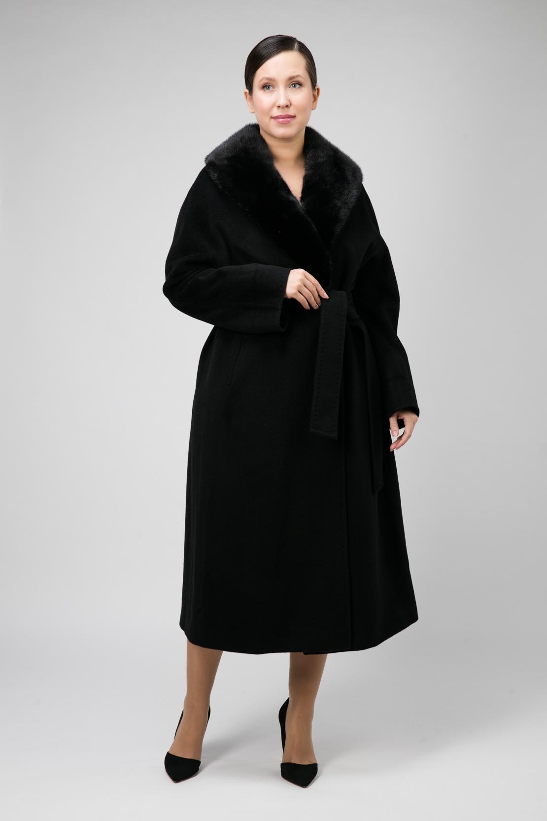 Пальто с меховым воротником на большой размер фото