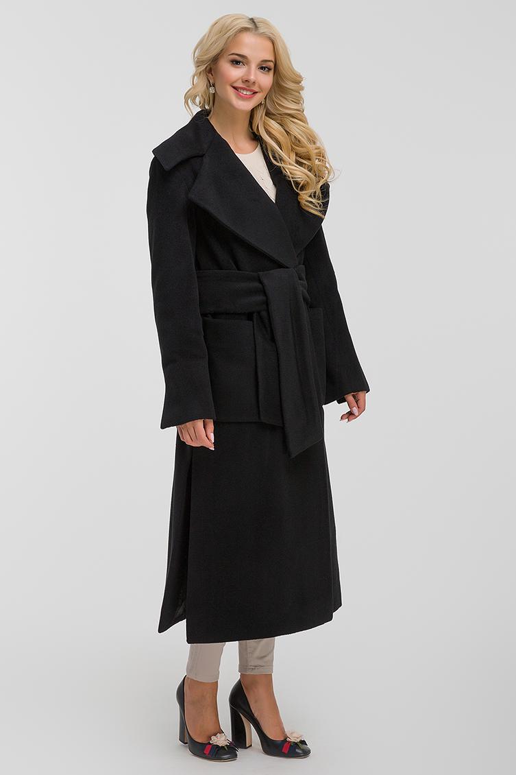 Длинное шерстяное пальто с большим воротником фото