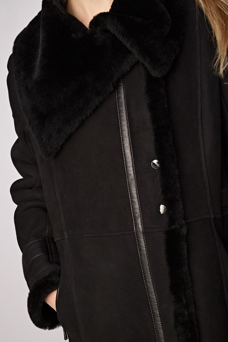 Чёрная длинная дублёнка Gemmi 3119_00820/G3-черный