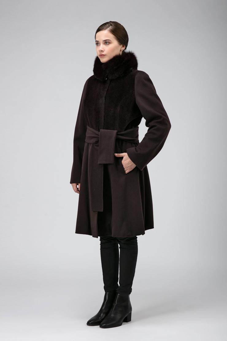 Комбинированное приталенное пальто из Италии фото