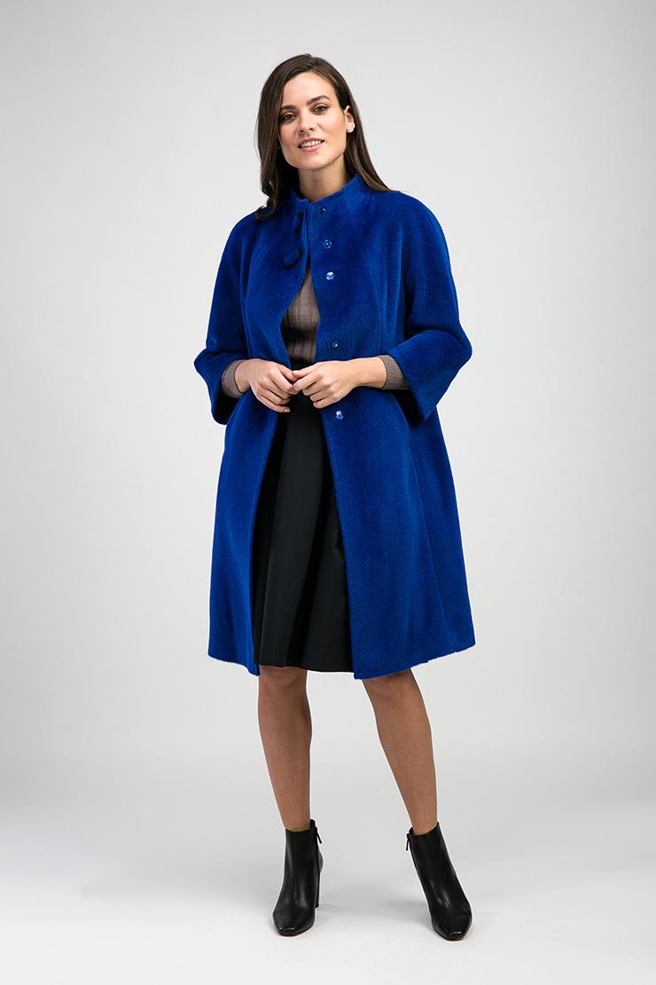 Синее пальто оверсайз Teresa Tardia из альпака 315015/T69_-синий