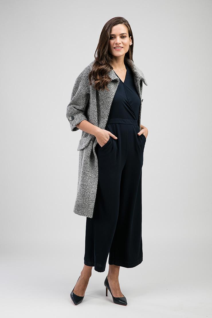 Пальто из Италии Teresa Tardia с большим отложным воротником 316006/Т50-серый