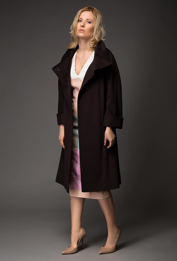 Коричневое женское пальто Teresa Tardia с воротником-стойкой 32244/T10-коричневый