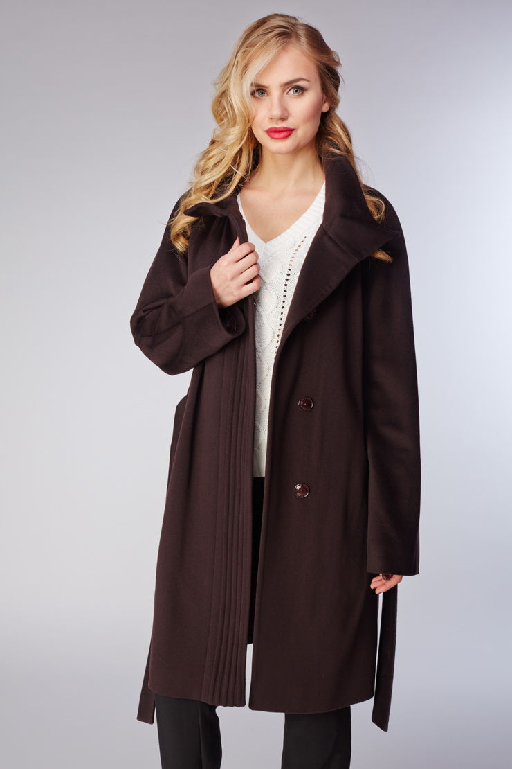 Женское пальто Teresa Tardia из элитной шерсти LoroPiana 32315/T05-баклажан
