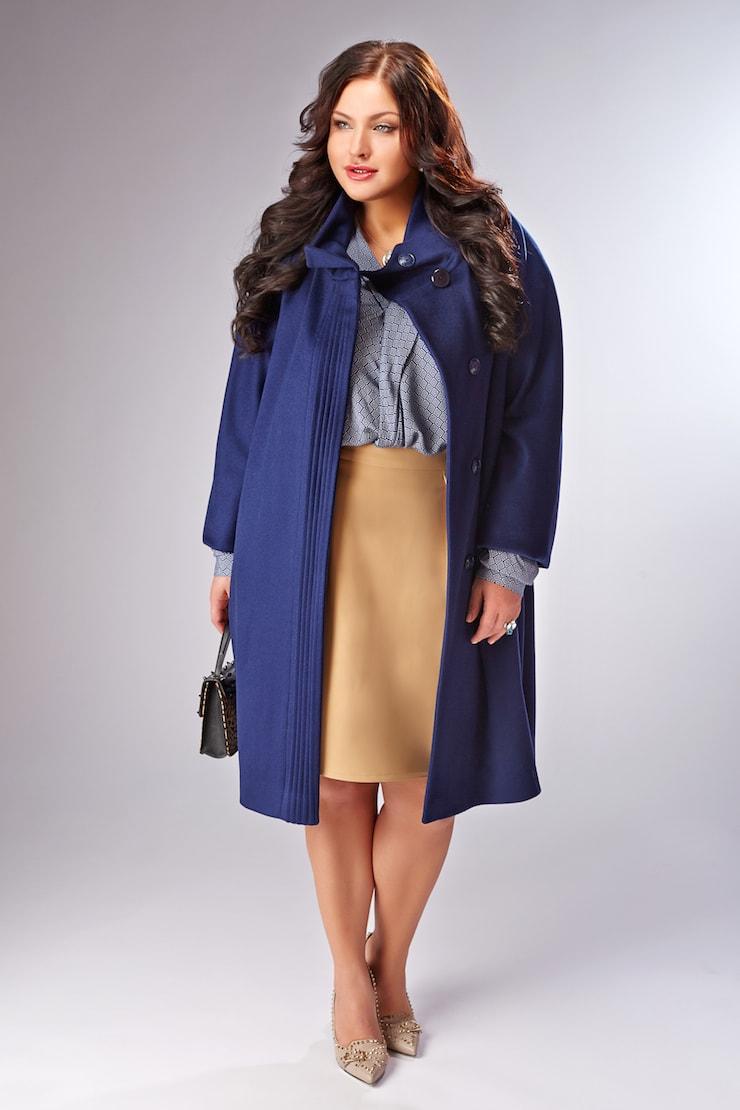 Пальто синего цвета с цельнокроеным рукавом Teresa Tardia 32315/T47_1-синий