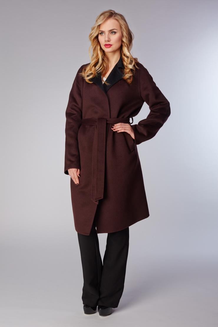 Женское весеннее пальто с запахомПальто<br>Женское весеннее пальто с запахом<br>Цвет: коричневый; Размер: 46; Состав: 50% шерсть, 50% ангора; Материал: 50% шерсть, 50% ангора;