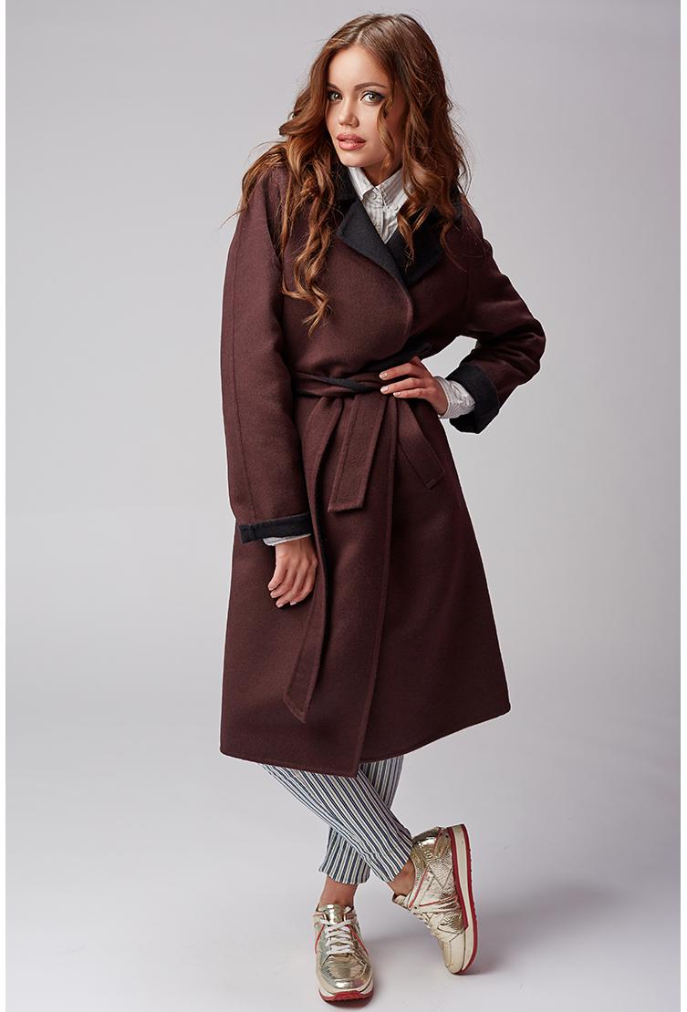 Стильное демисезонное пальто из шерстиПальто<br>Стильное демисезонное пальто из шерсти<br>Цвет: коричневый; Размер: 46; Состав: 50% шерсть, 50% ангора; Материал: 50% шерсть, 50% ангора;