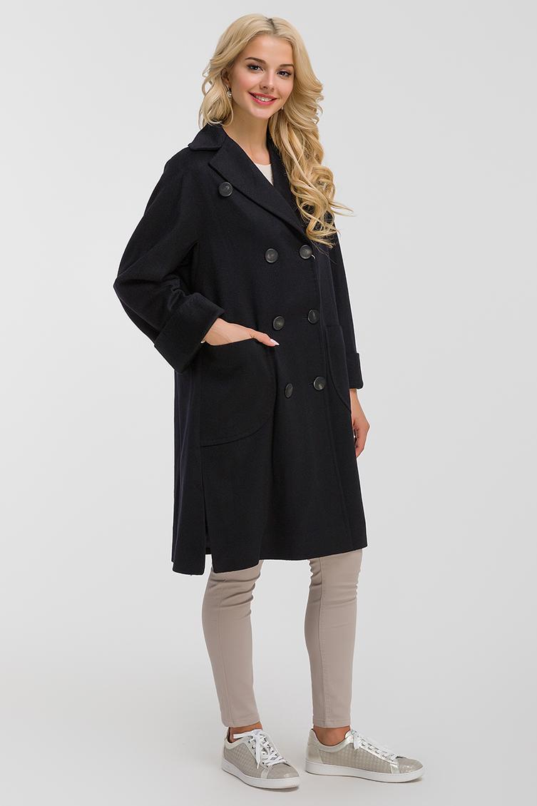 Двубортное шерстяное пальто средней длины фото