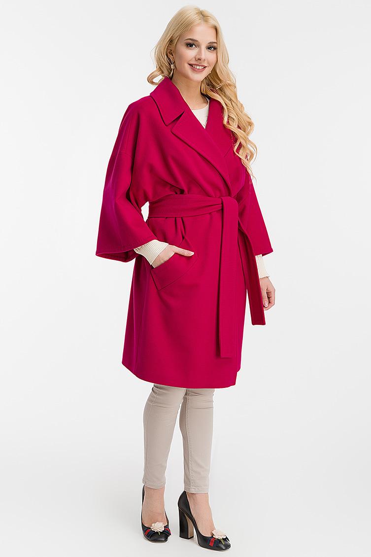 Пальто на запахе фасона кимоно Teresa Tardia 325136/T05-рубиновый