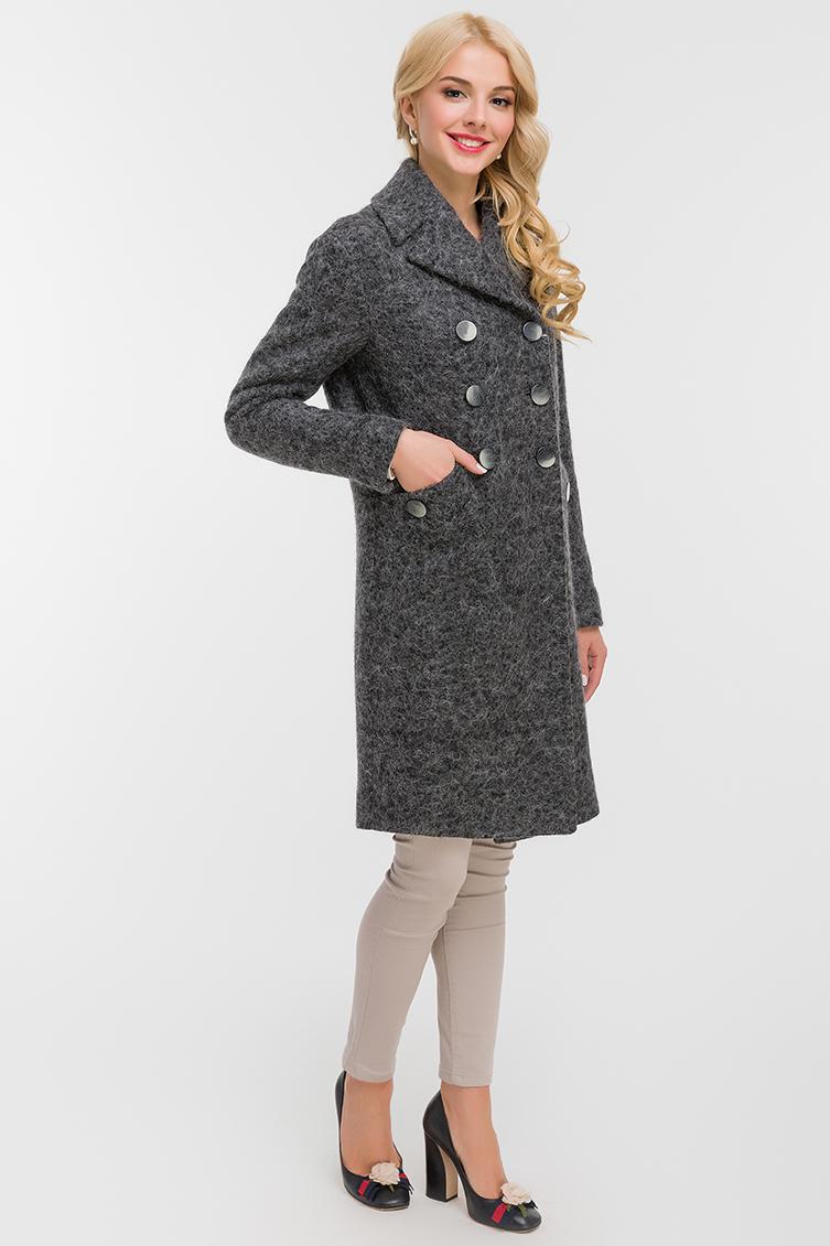 Мохеровое двубортное пальто фото