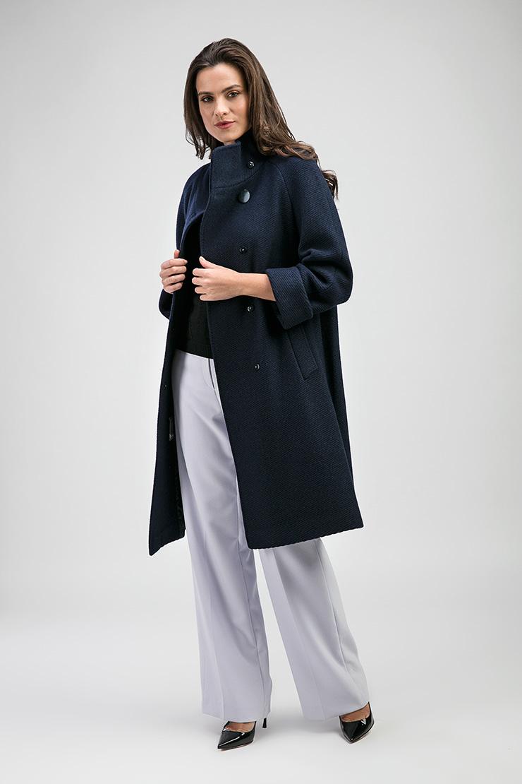 Женское пальто из шерсти синего цвета от Teresa Tardia 326128Z1/Т12-синий