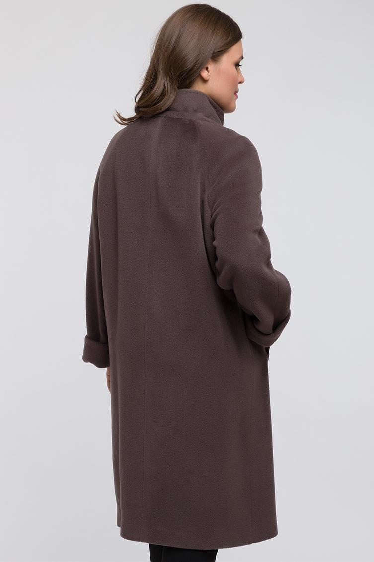 Длинное пальто из шерсти без меха для большого размера фото