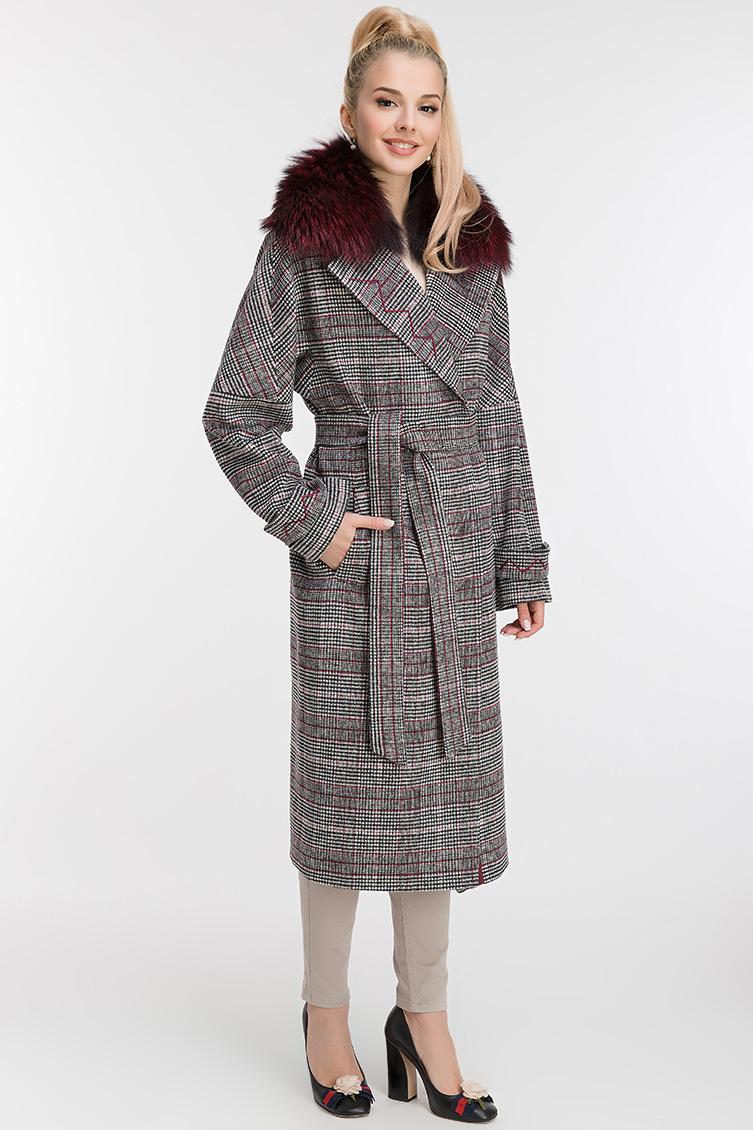 Стильное пальто из шерсти с лисой