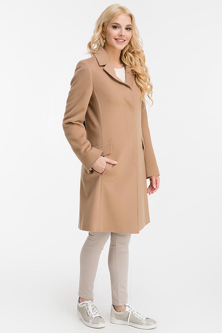 Стильное полуприталенное шерстяное пальто средней длины фото