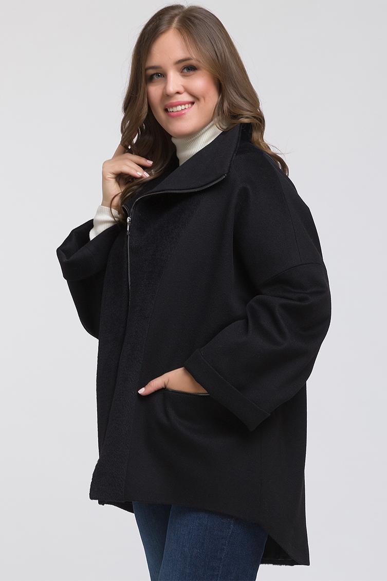Комбинированное короткое пальто для больших размеров, 44-1885/01-черный