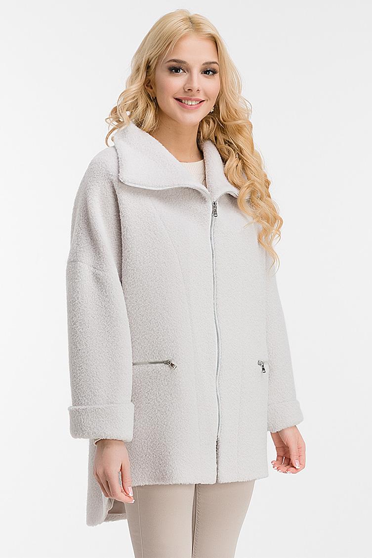 Короткое женское пальто на весну из бэби ламы, 44-1885/02-жемчужный