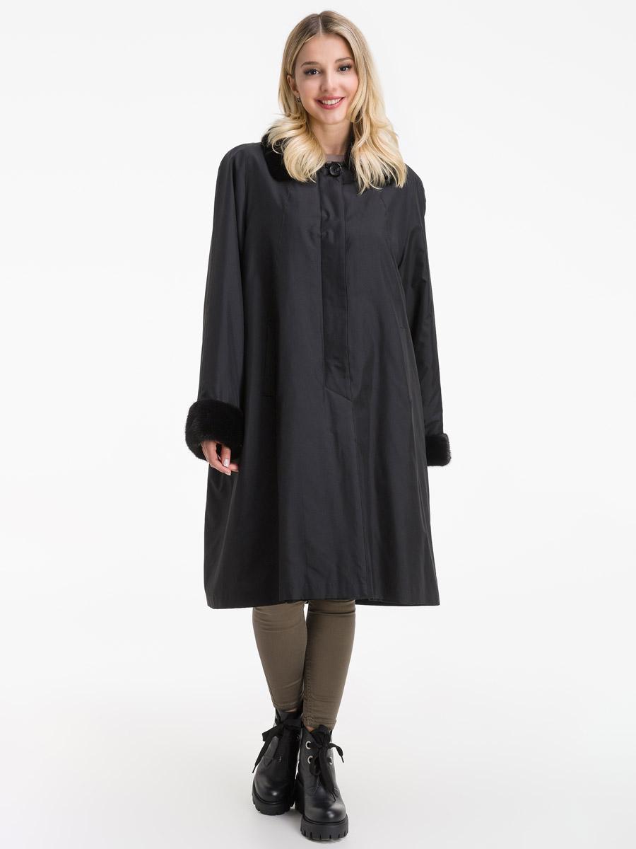Зимнее пальто трапеция с меховым воротником фото