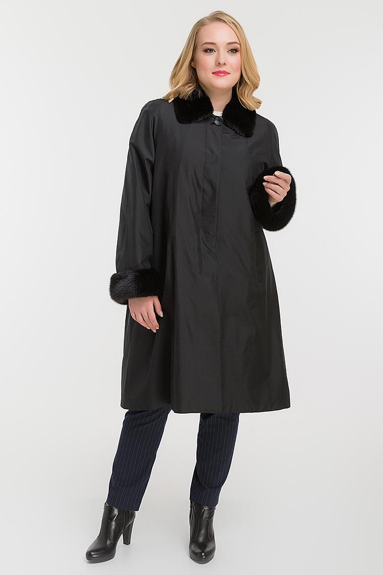 Женское теплое пальто на меху кролика для больших размеров фото