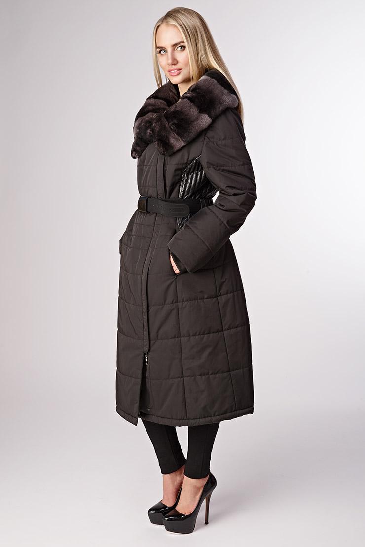 Длинное стеганое пальто на синтепоне Diego M 453TL/D07-черный