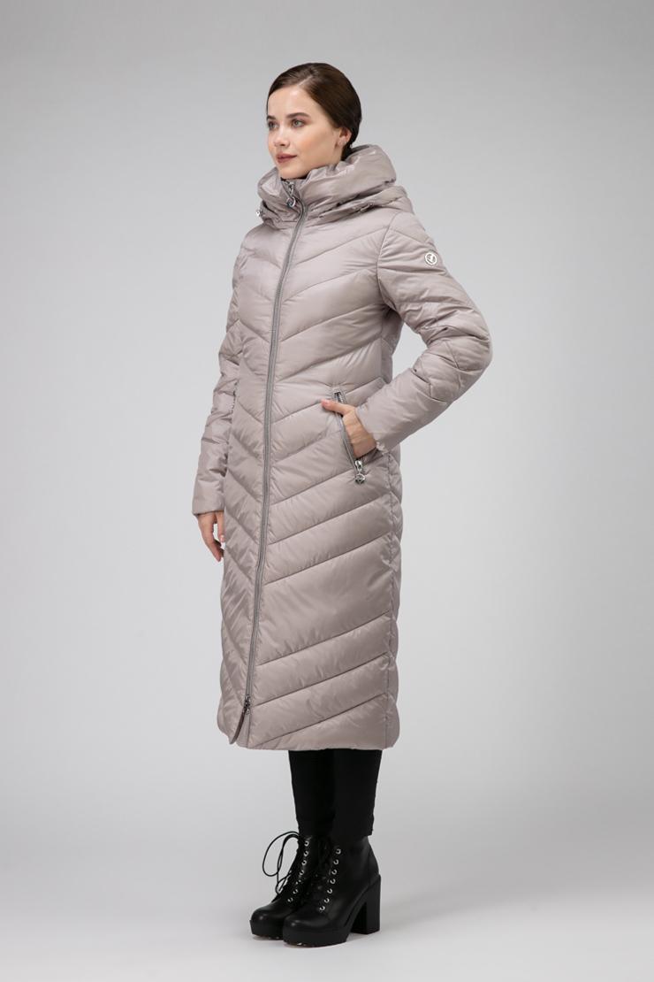 Женское длинное пальто для осени полуприталенного силуэта