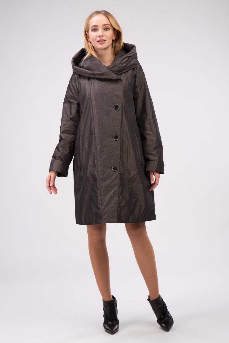 Женское демисезонное пальто средней длины с капюшоном