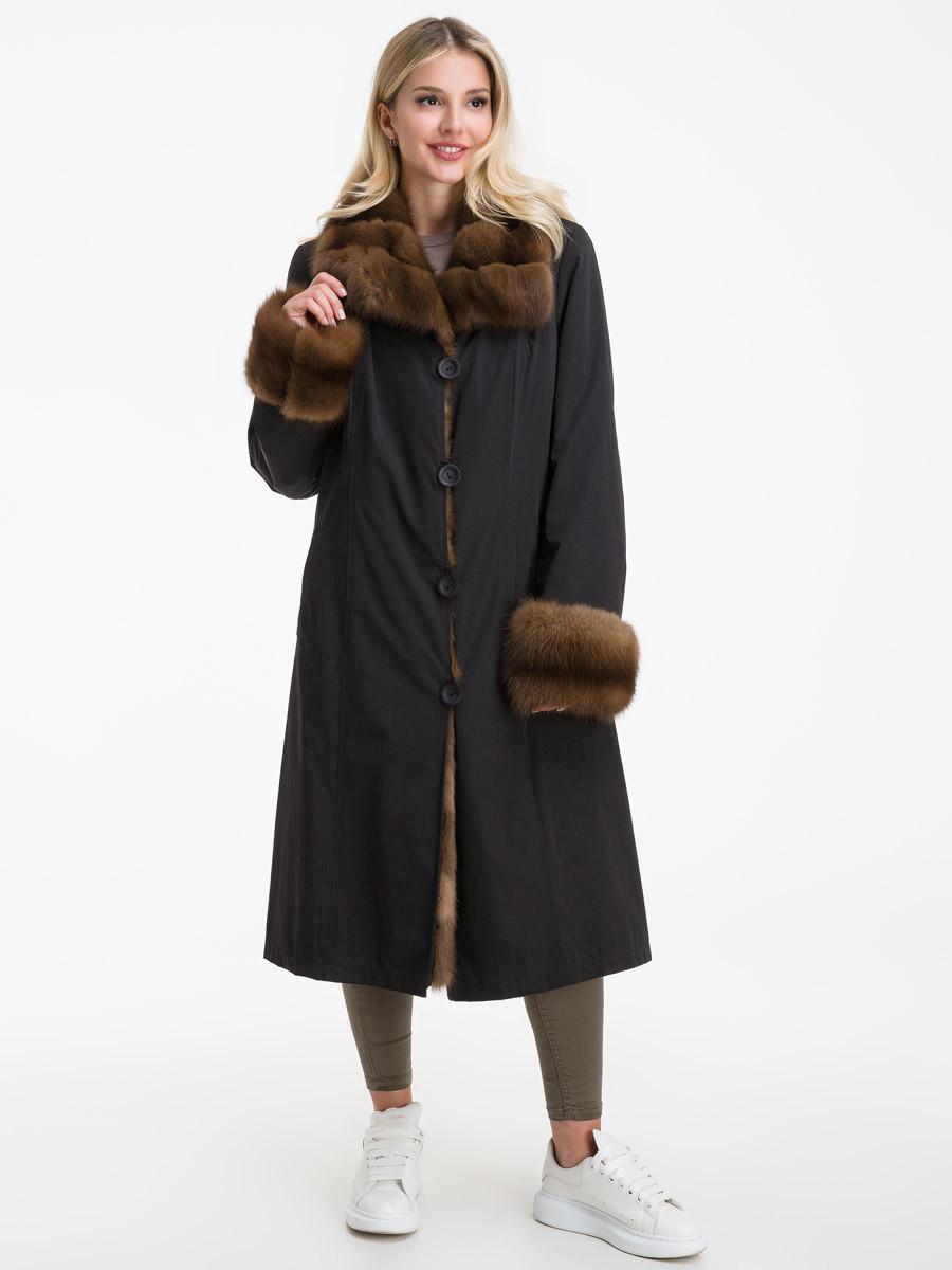 Теплое женское пальто на меху из Италии фото