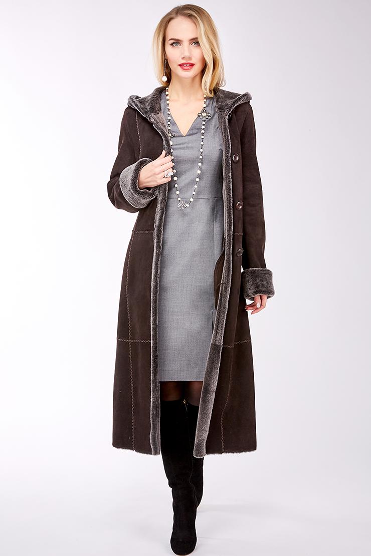 Длинная женская дубленка из овчины с капюшоном Enrico Ferretti 5487_11/S01-коричневый