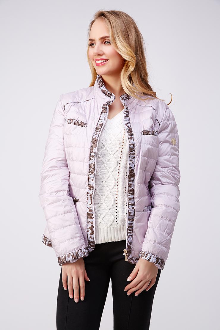 Стеганая женская куртка с контрастной отделкойКуртки<br>Стеганая женская куртка с контрастной отделкой<br>Цвет: розовый; Размер: 46; Состав: 100% нейлон; 90% пух, 10% перо; Материал: 100% нейлон; 90% пух, 10% перо;