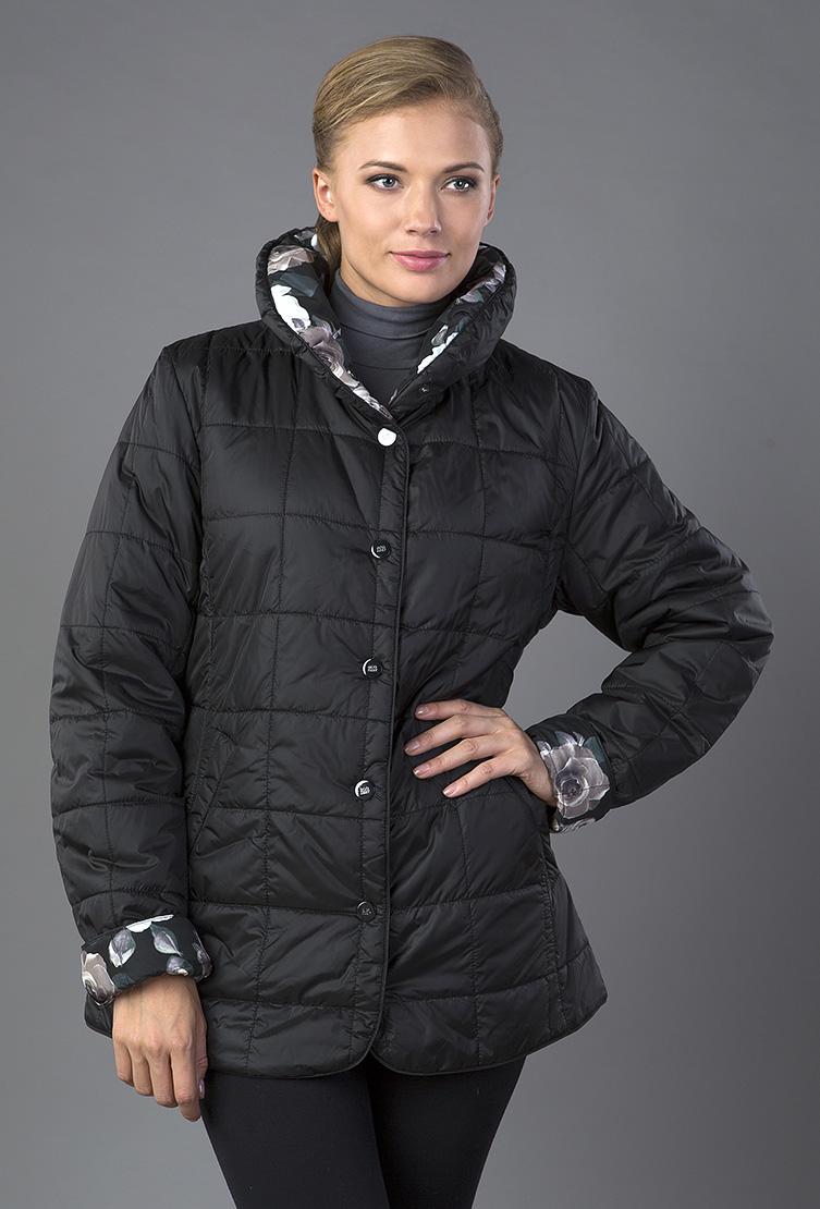 Легкая двусторонняя стеганая куртка на синтепонеКуртки<br>Легкая двусторонняя стеганая куртка на синтепоне<br>Цвет: черный; Размер: 44, 48; Состав: 100% полиэстер, наполнитель - синтепон; Материал: 100% полиэстер, наполнитель - синтепон;