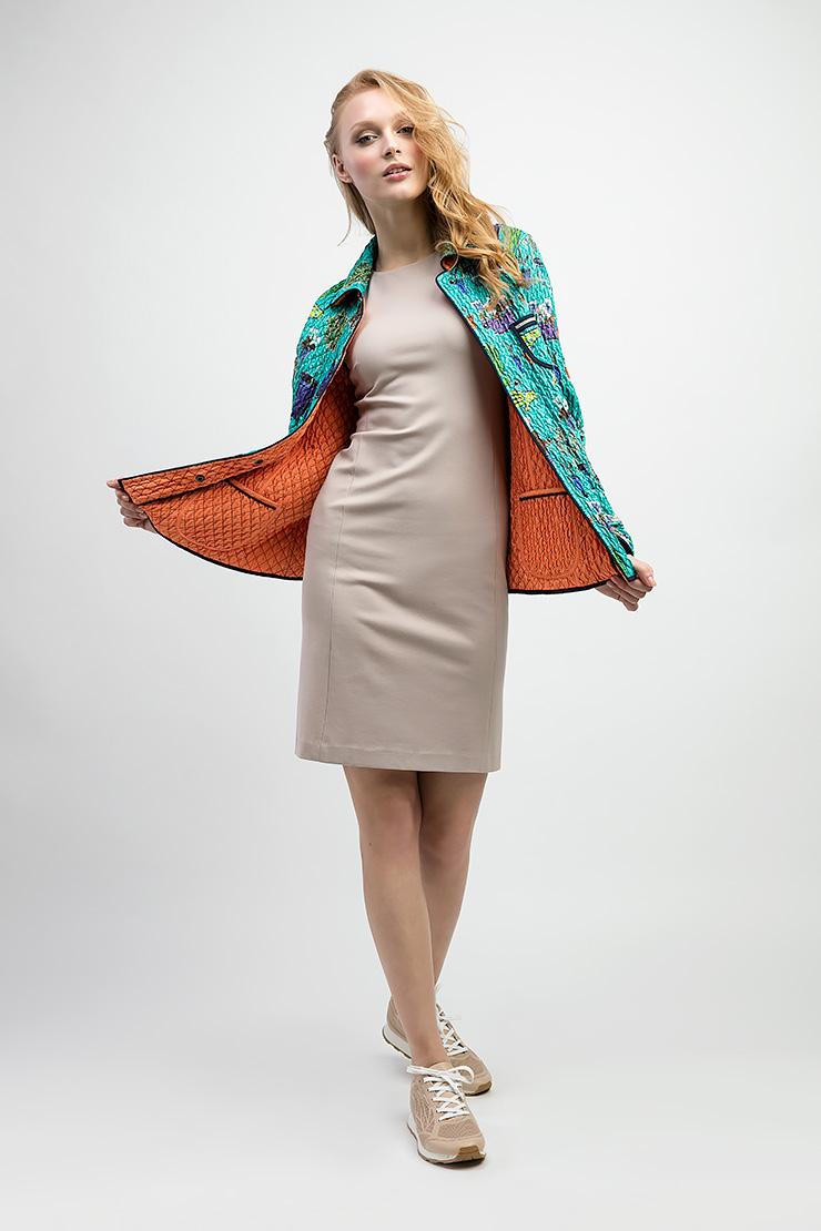 Двусторонняя женская куртка с мелкой протежкой LANDI 610/01-бирюзовый