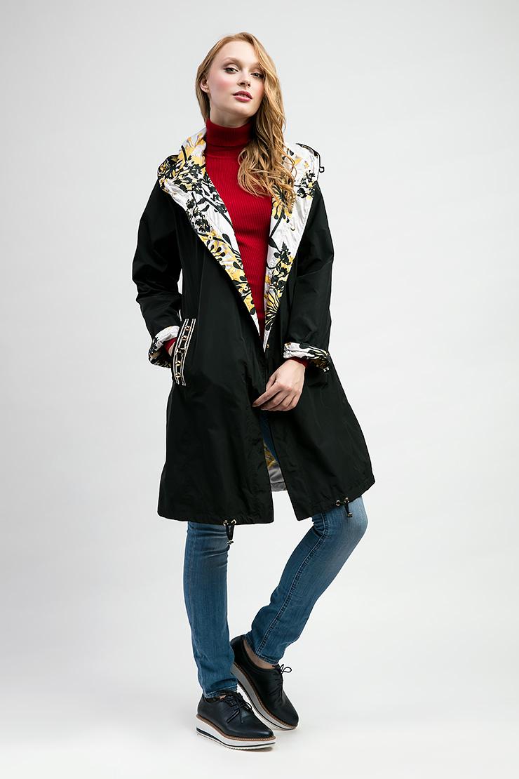 Итальянский модный двусторонний плащ J.N.C J.N.C. 6116/N10-черный