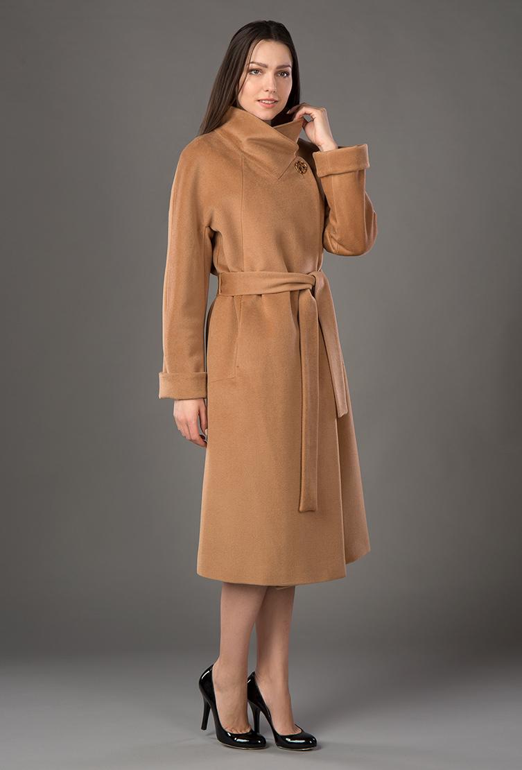 Демисезонное женское кашемировое пальто с поясом