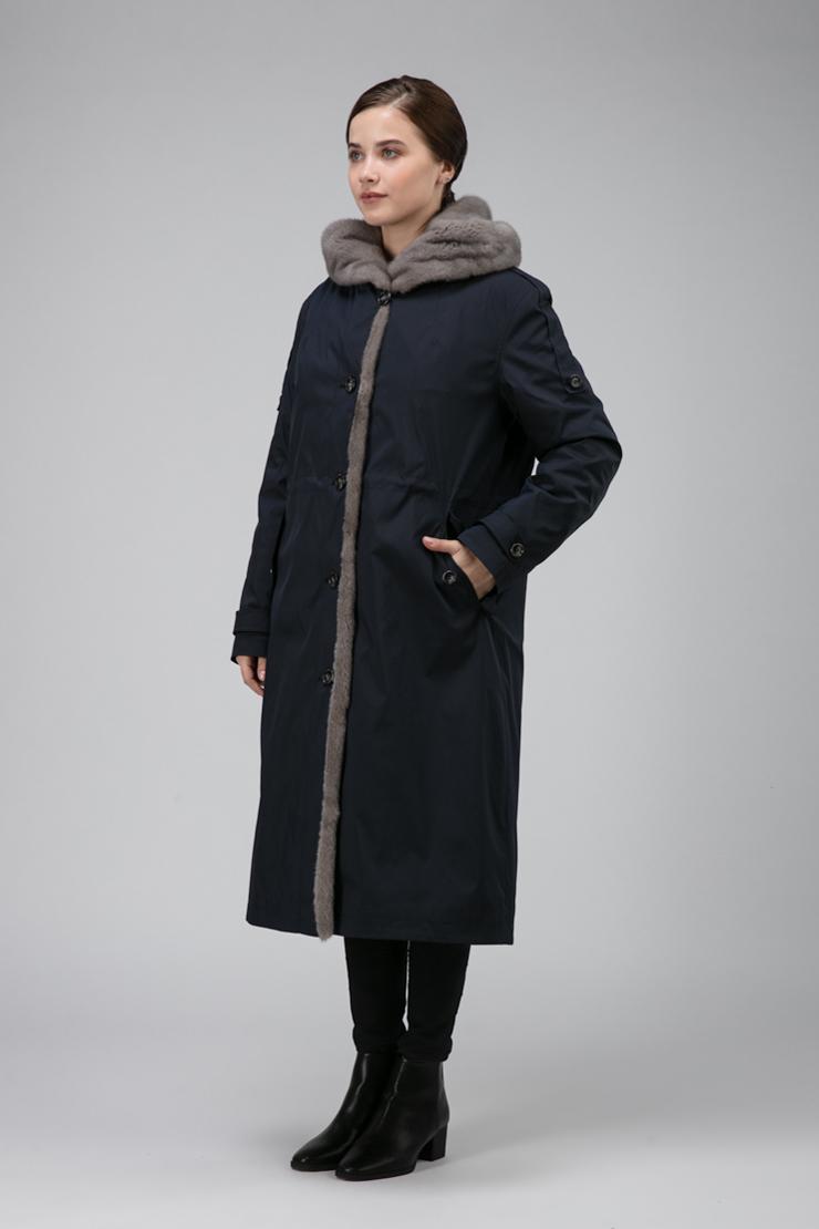 Купить со скидкой Длинное зимнее пальто на кролике из Италии