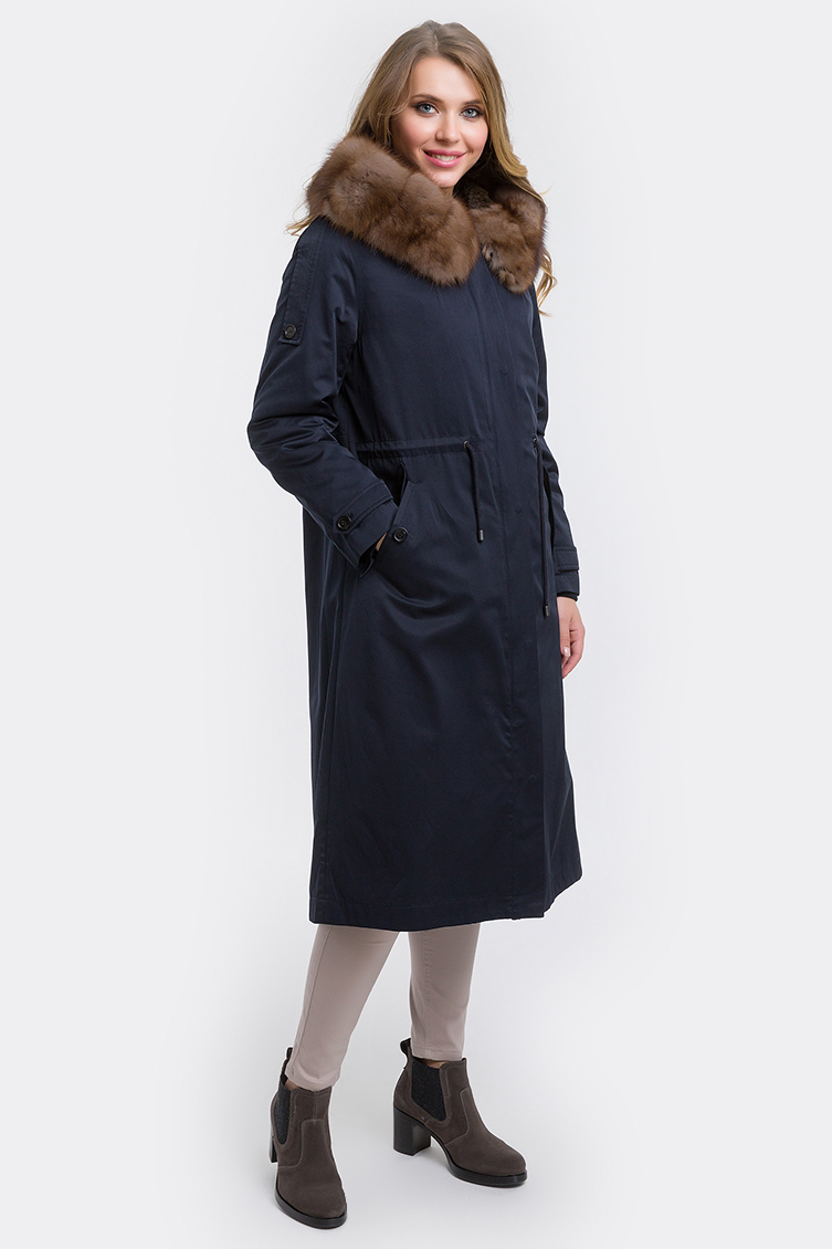 Итальянское пальто на меху с капюшоном