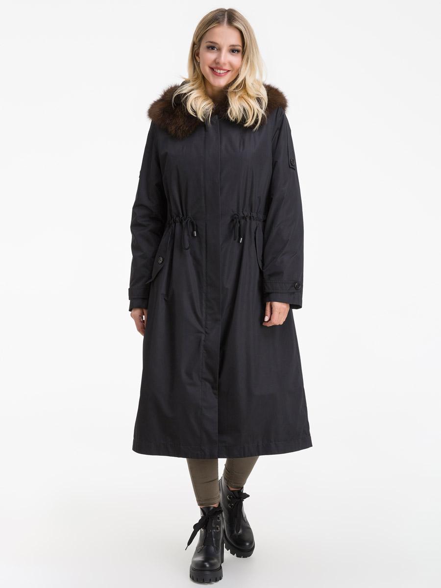 Длинное зимнее итальянское пальто на кроличьей подстежке фото