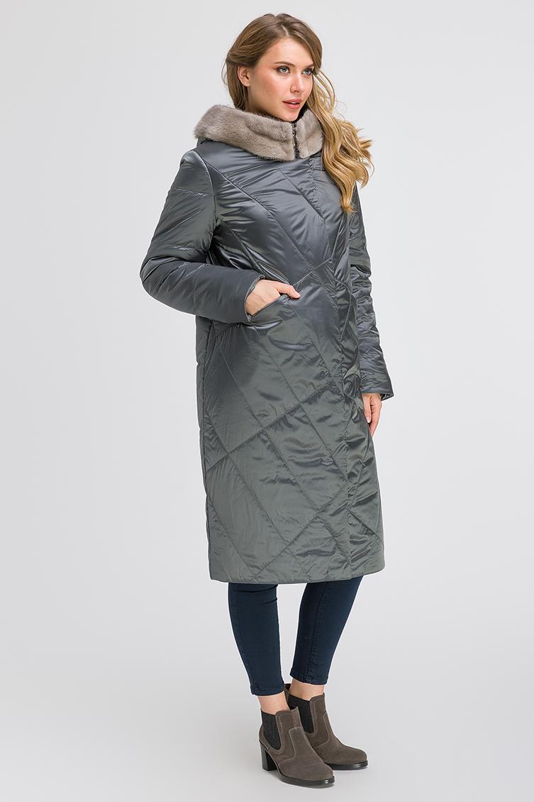 Стеганое длинное пальто с норкой на большой размер фото